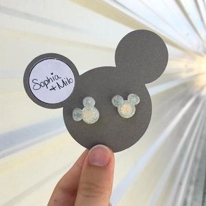 Mickey Mouse Earrings, White/Rainbow Glitter Studs